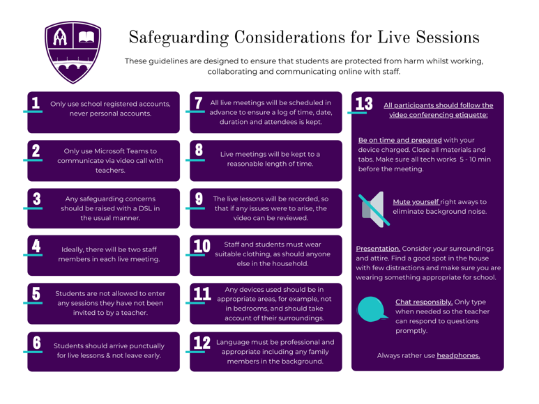 Safeguarding Considerations for Live Sessions
